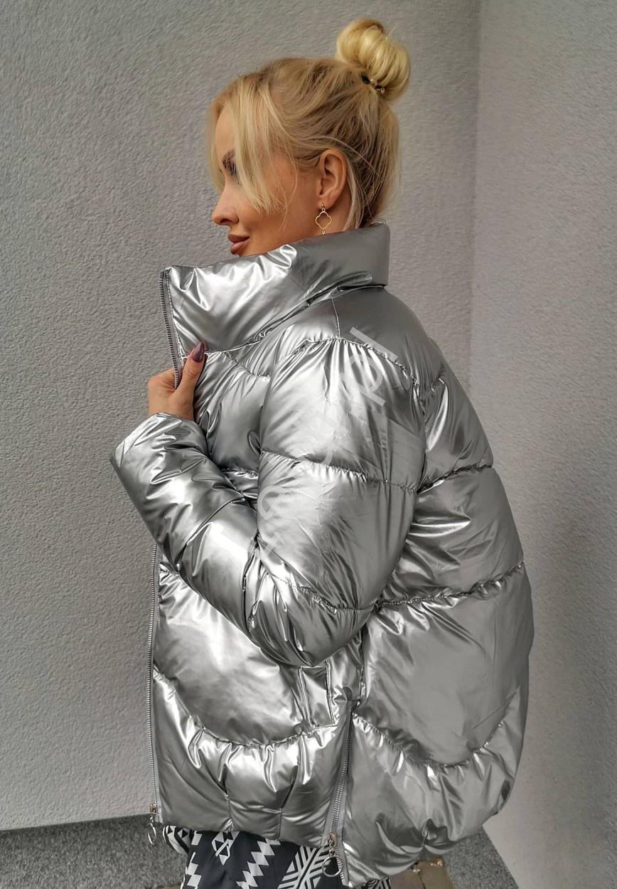Srebrna kurtka pikowana, zimowa kurtka damska 9866 - Lejdi