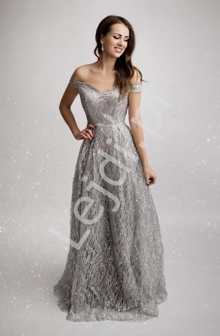 Srebrna suknia brokatowa z odsłoniętymi ramionami 2175 - Lejdi