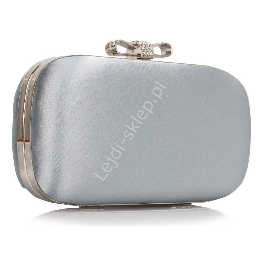 40be1e6cd1309 Srebrna torebka wieczorowa szkatułka z cyrkoniową kokardką ...