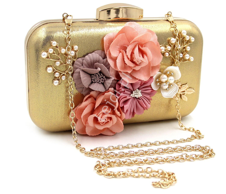 6f830d28755fc Unikatowa okrągła torebka w kolorze purowego różu z kwiatami i ...