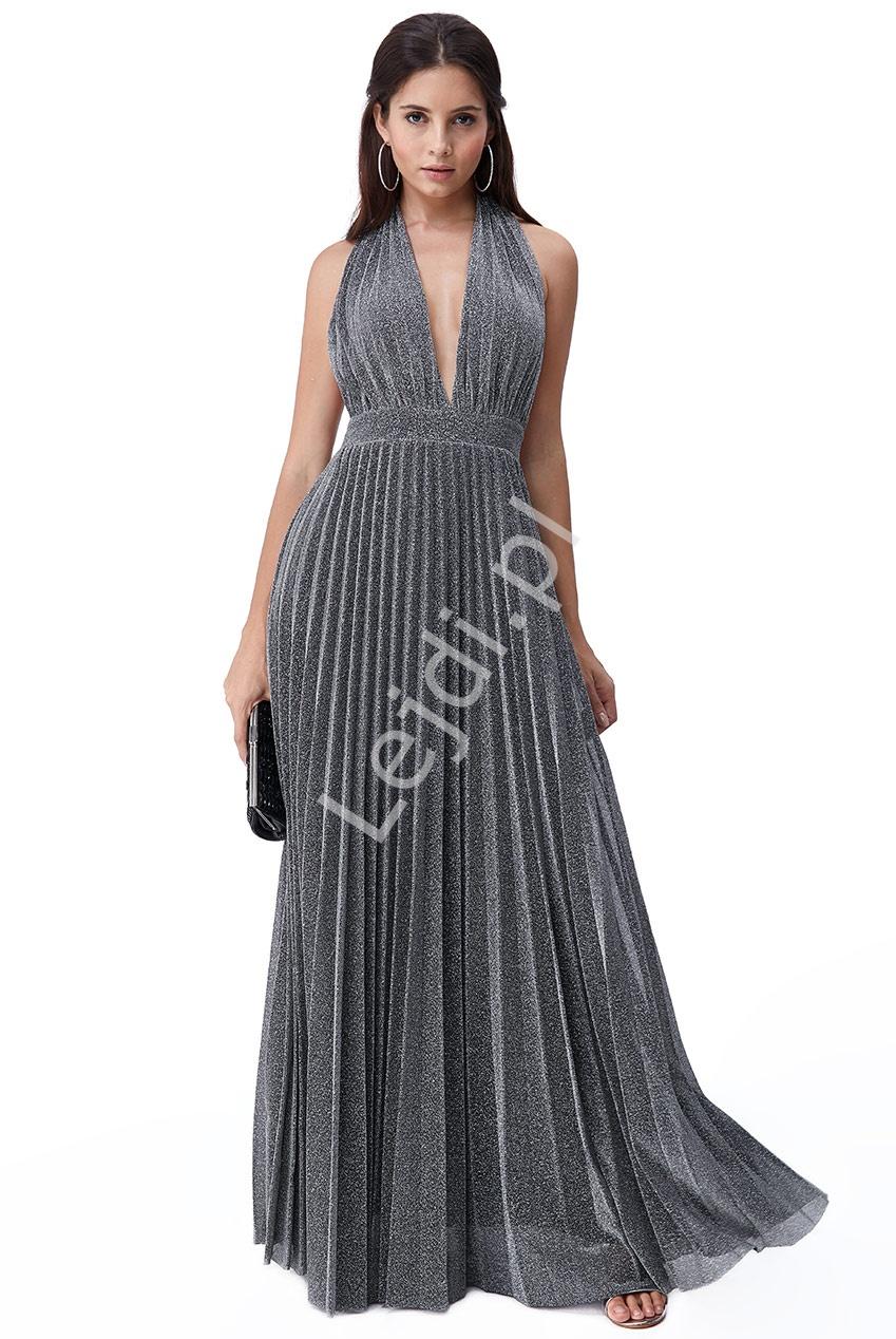 Srebrna wieczorowa plisowanka z odkrytymi plecami, sukienka Goddiva 2496 - Lejdi