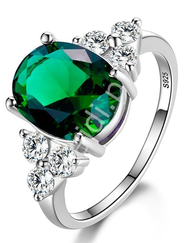 Chłodny Srebrny pierścionek 925 z zielonym oczkiem cyrkonią AAA+ - Lejdi.pl OA72
