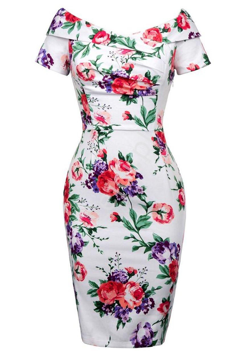 Sukienka carmen z falbaną | biała w kolorowe kwiaty - Lejdi
