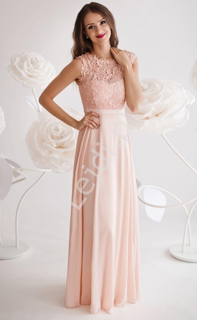 Sukienka dla druhny z gipiurową koronką na biuście | suknia wieczorowa jasno różowa - Lejdi