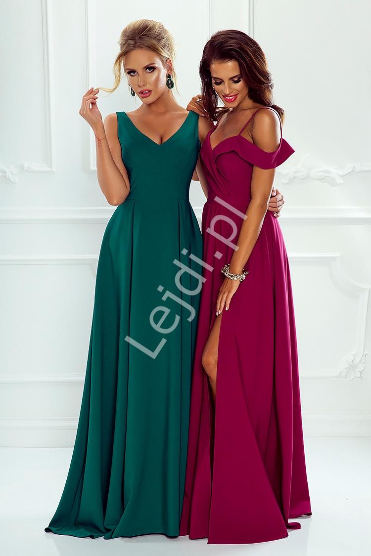 Sukienka dla druhny z odkrytymi ramionami ciemne wino - ELIZABETH - Lejdi