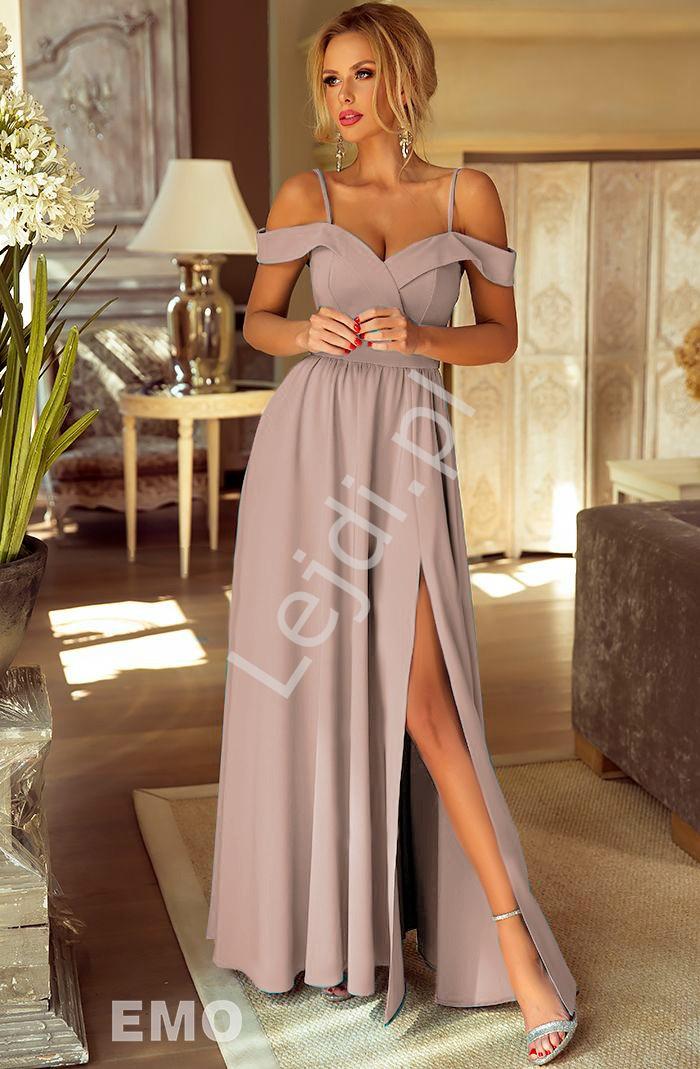 5ab1af93fb Sukienka dla druhny z odkrytymi ramionami w kolorze kawy z mlekiem -  ELIZABETH
