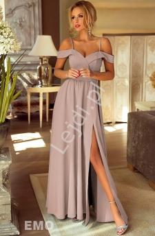 cf32166d0e Sukienka dla druhny z odkrytymi ramionami w kolorze kawy z mlekiem -  ELIZABETH
