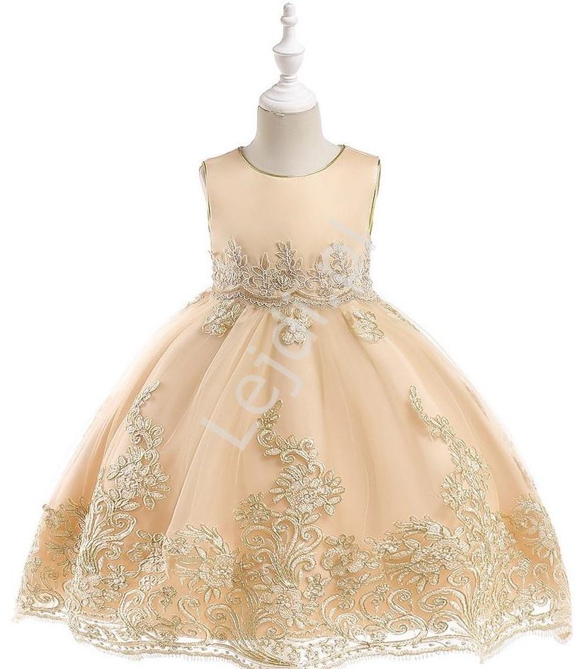 Sukienka dla dziewczynki beżowa ze złotym haftem - Lejdi