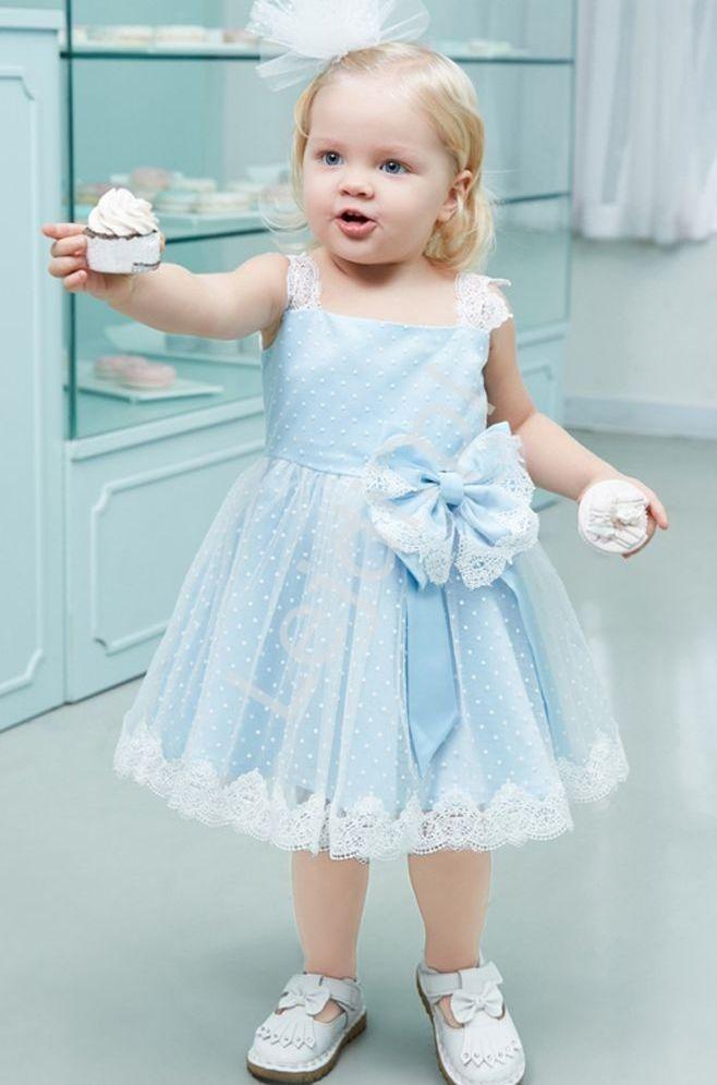 Sukienka dla dziewczynki, błękitno biała - Lejdi