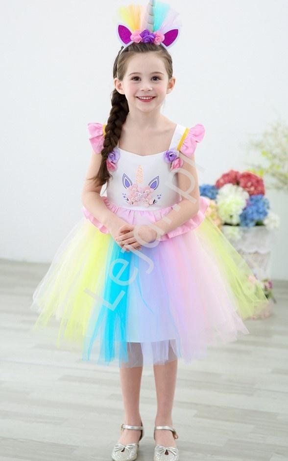 Sukienka dla dziewczynki jednorożec z różowymi falbankami 090 - Lejdi