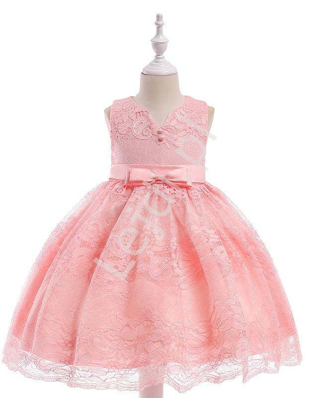 Sukienka dla dziewczynki, koronkowa z kokardami - jasnoróżowa - Lejdi