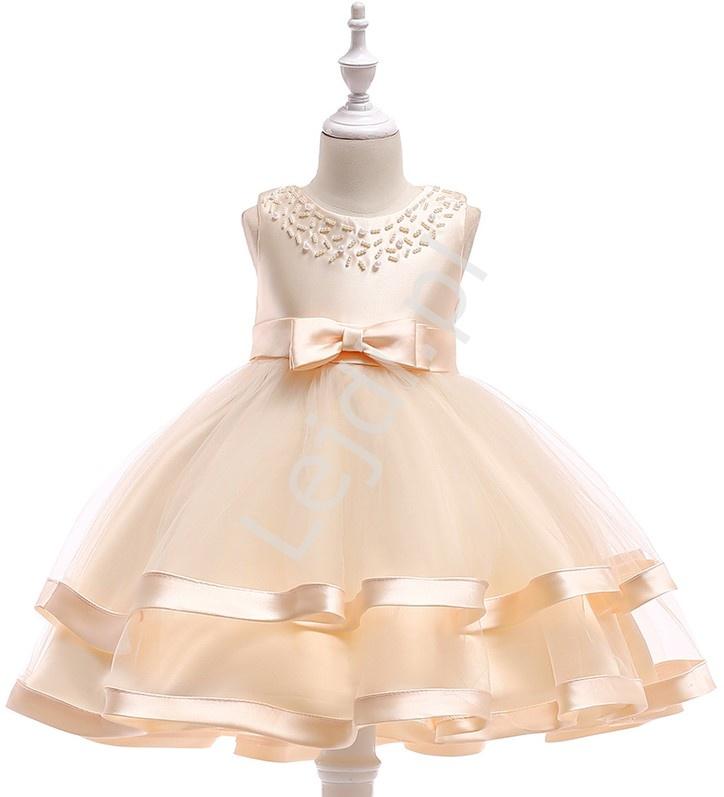 Sukienka dla dziewczynki na wesele w kolorze szampańskim - Lejdi