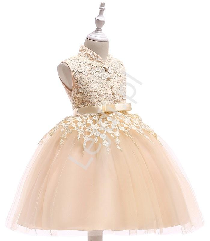 fe29687247 Sukienka dla dziewczynki tiulowo koronkowa ze stójką- szampańska ...