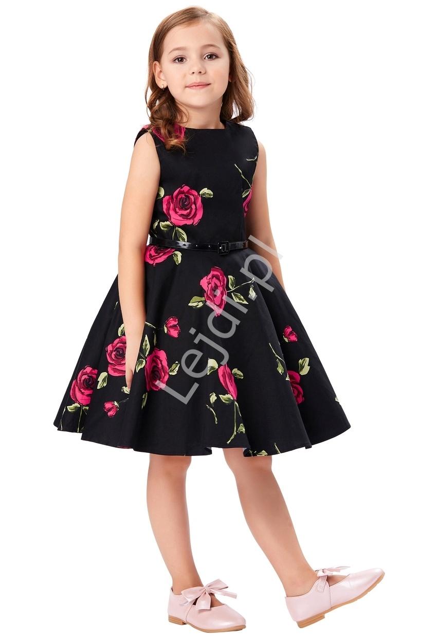 Sukienka dla dziewczynki w czerwone róże | sukienki w stylu pin-up, retro sukienki dla dziewczynek - Lejdi
