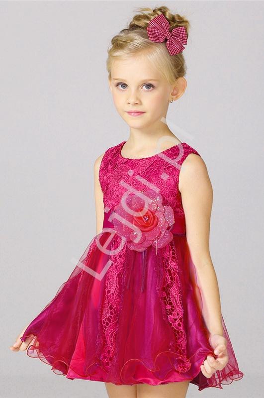 Sukienka dla dziewczynki w kolorze fuksji - Lejdi