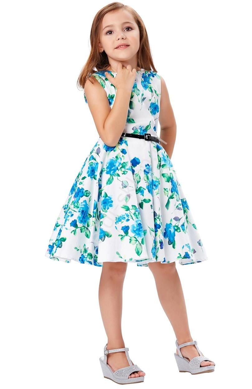 Sukienka dla dziewczynki w niebieskie kwiaty | sukienki w stylu pin-up, retro sukienki dla dziewczynek - Lejdi