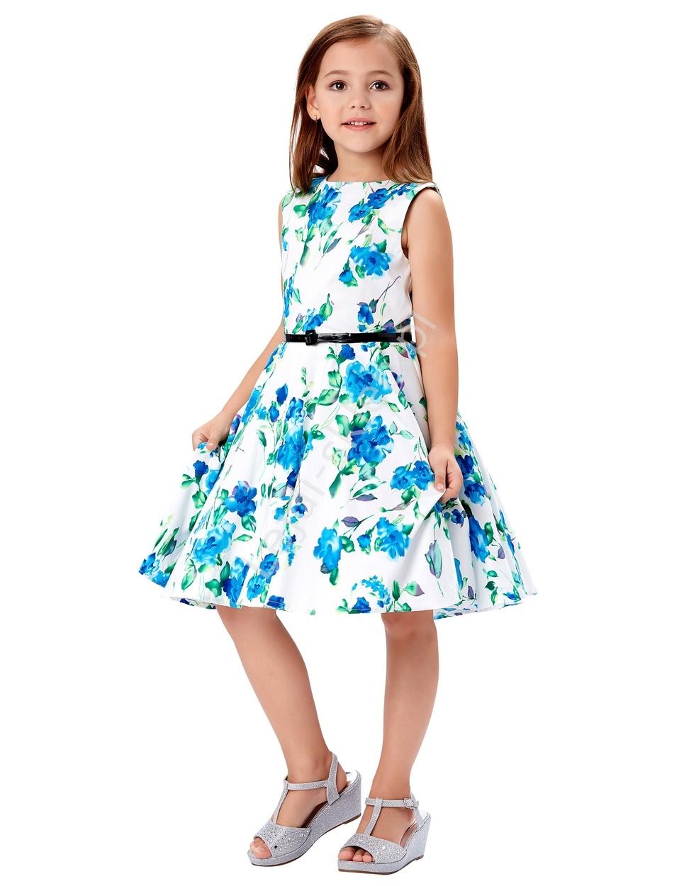 920020bf51 Znany Sukienka dla dziewczynki w niebieskie kwiaty