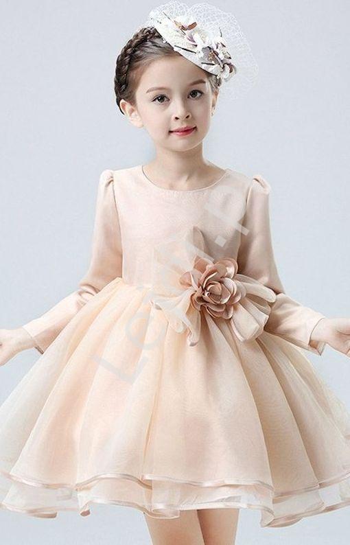Sukienka dla dziewczynki z długim rękawem beż - Lejdi