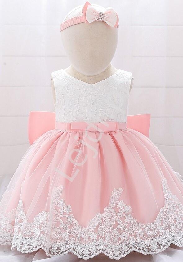 Sukienka dla dziewczynki z haftami- komplet z opaską - Lejdi