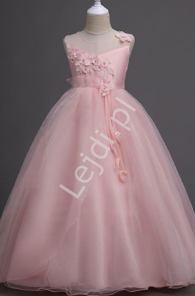 Sukienka dla dziewczynki z jasno różowego tiulu 708 - Lejdi