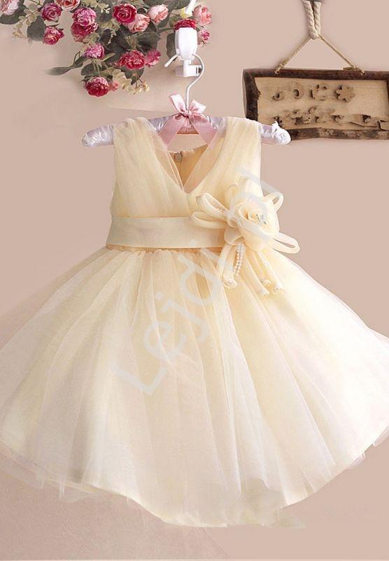 Sukienka dla dziewczynki złoto beżowa z kwiatkiem - Lejdi