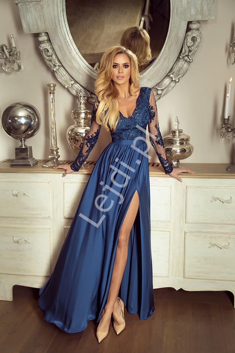 Sukienka dla mamy Panny Młodej/ mamy Pana Młodego - suknia wieczorowa Luna morski - Lejdi