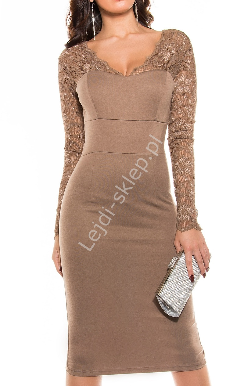 Sukienka, dzianina z koronką , mokka 339 -6 - Lejdi