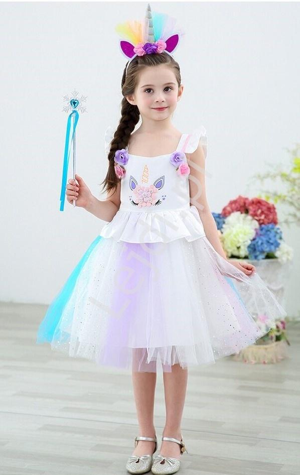 Sukienka dziecięca jednorożec z tiulem i różyczkami 090 - Lejdi