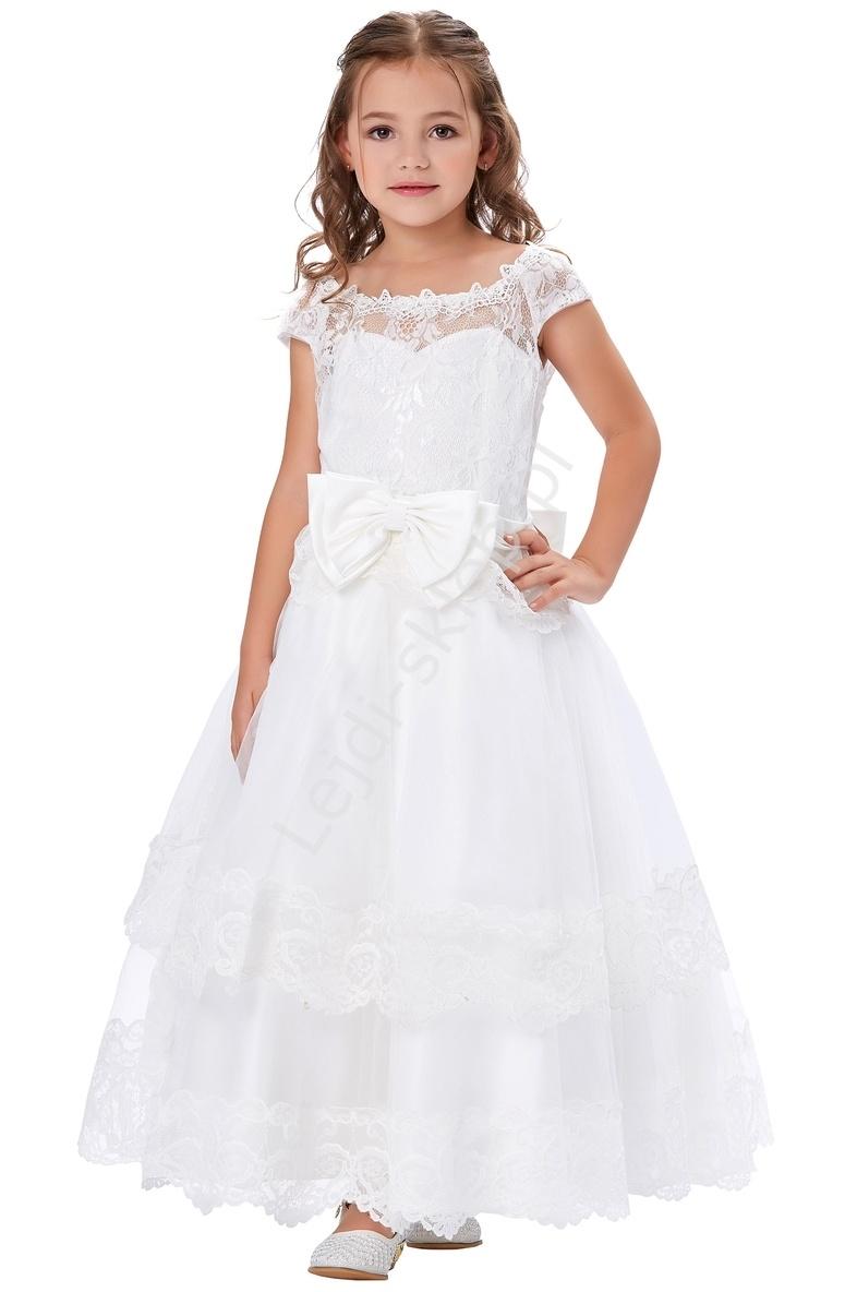 Sukienka komunijna | biała dziewczęca sukienka na komunie - Lejdi