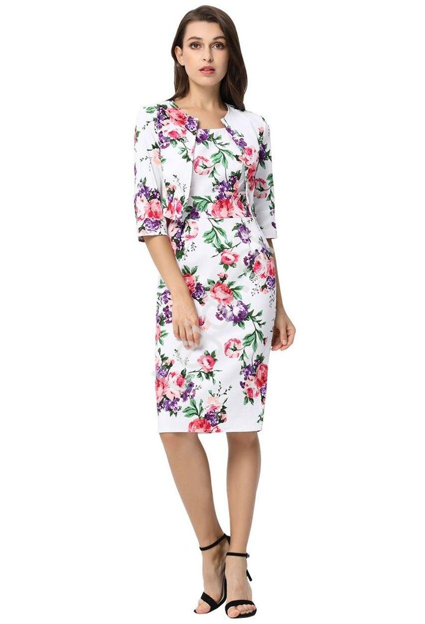 Sukienka kwiatowa z żakietem | komplet kwiatowy w kolorowe kwiaty 749 - Lejdi