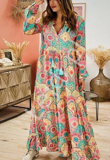 Sukienka letnia w stylu boho , sukienka w stylu orientalnym 3721 - Lejdi