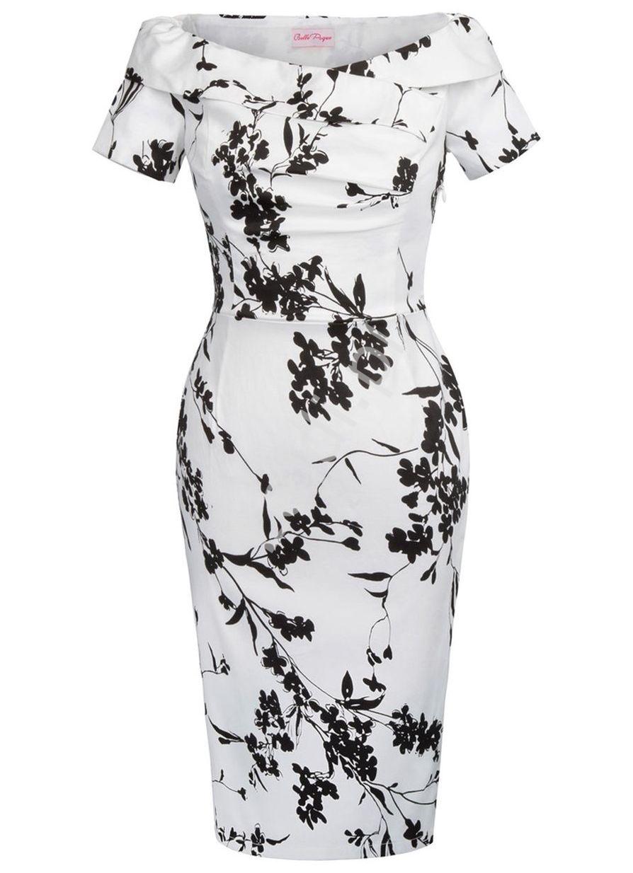 Sukienka midi w czarne kwiaty z dekoltem carmen - Lejdi