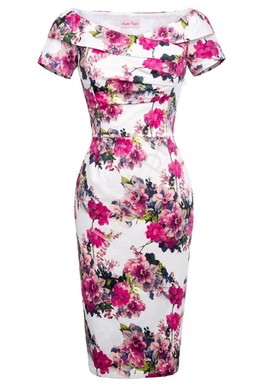 Sukienka midi z dekoltem carmen z falbaną przy dekolcie w fuksjowe kwiaty - Lejdi