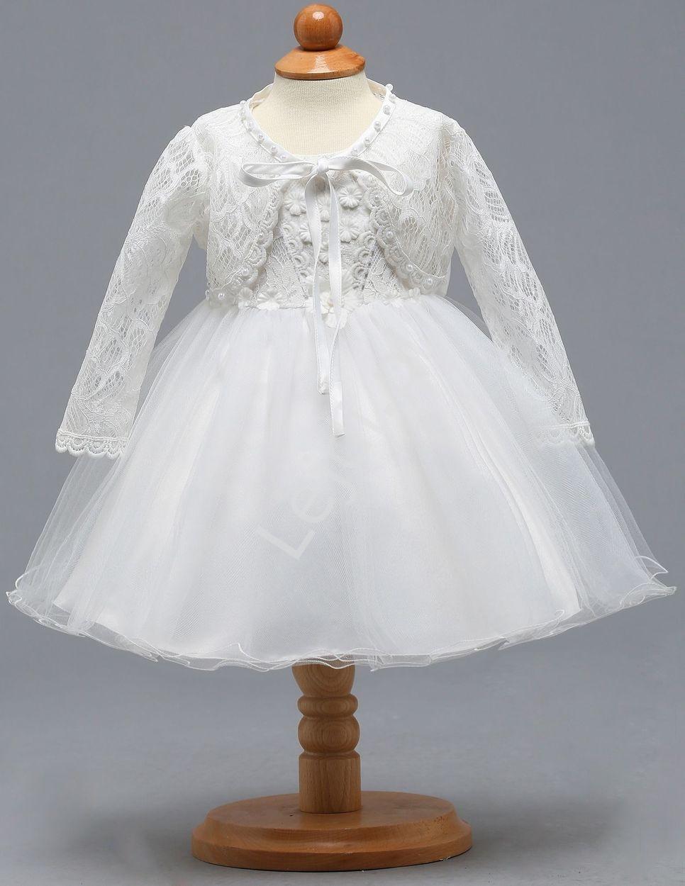 Sukienka na chrzest dla dziewczynki + bolerko Z007 - Lejdi