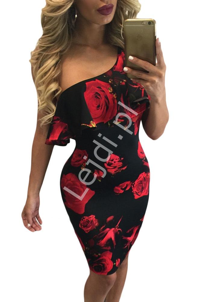 Sukienka na jedno ramie dekolt carmen w czerwone róże 155 - Lejdi