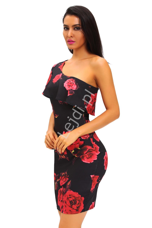 bd49e58353 Sukienka na jedno ramie dekolt carmen w czerwone róże 155 - Lejdi.pl