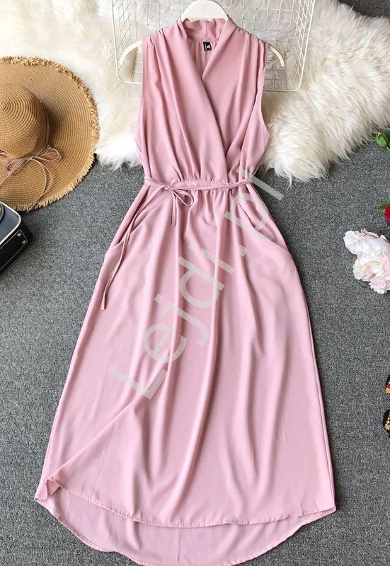 Sukienka na lato pudrowy róż 1135 - Lejdi