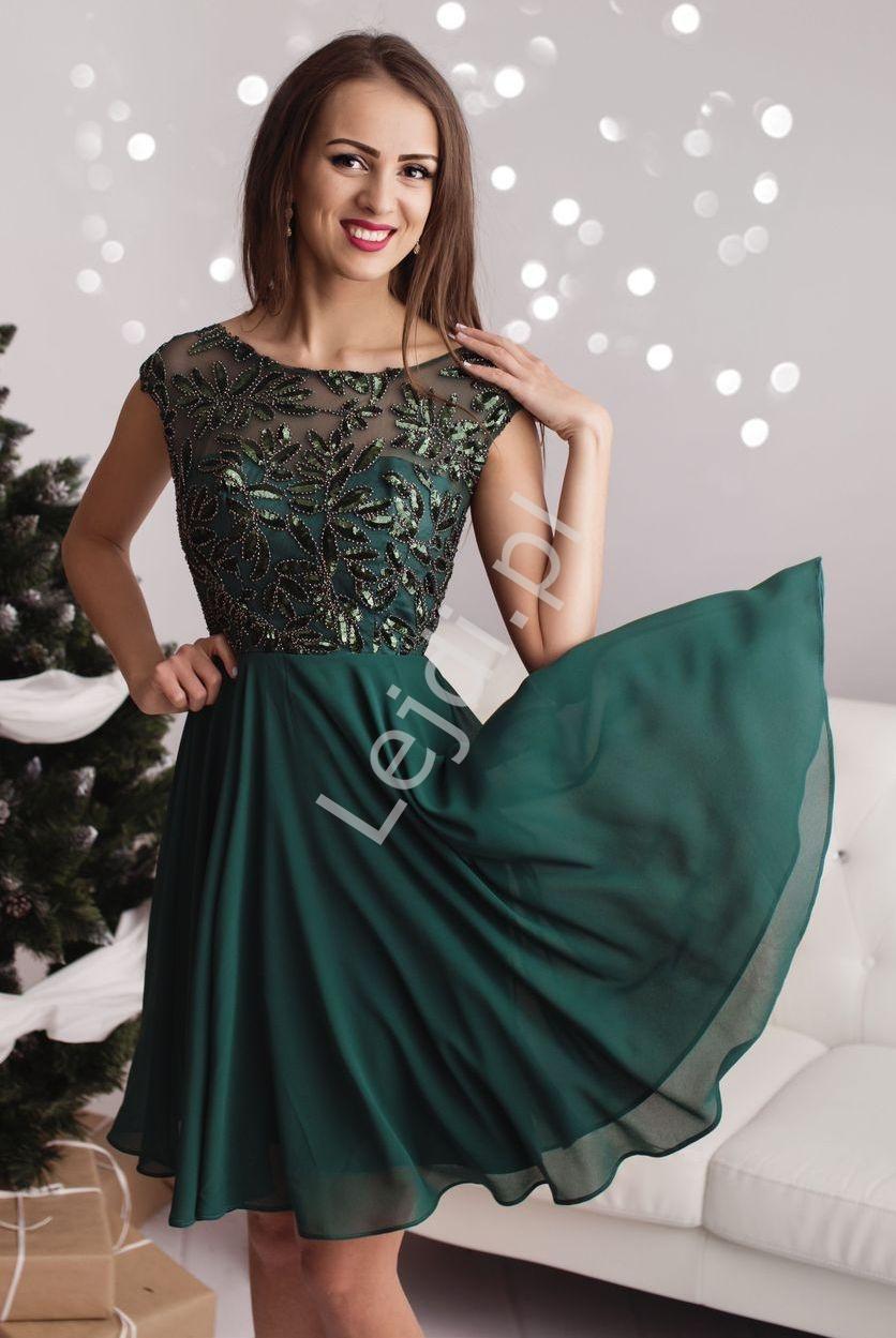 Sukienka na studniówkę, sylwestra, wesele z cekinowymi wzorami , butelkowa zieleń - Lejdi