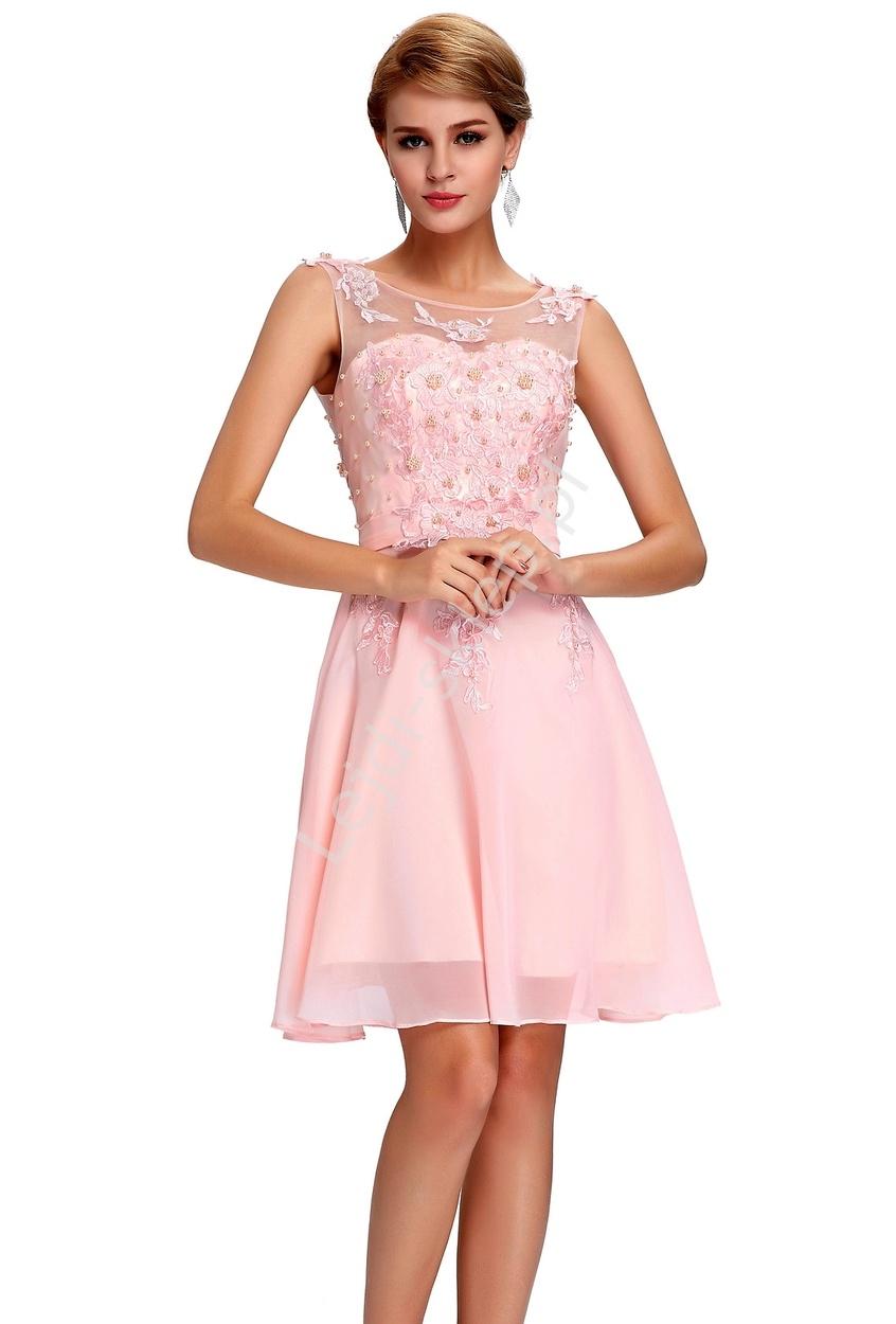 Sukienka na wesele, komunie, połowinki, poprawiny z perłami, jasny róż - Lejdi