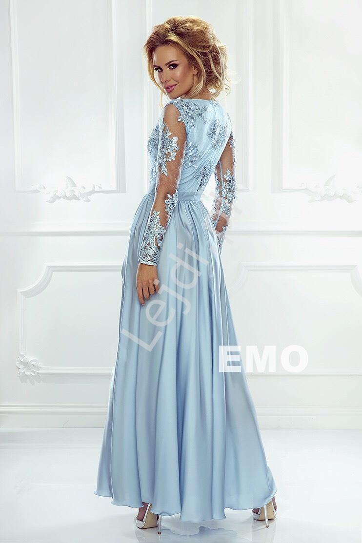 Sukienka na wesele z jedwabstym dołem, suknia wieczorowa błękitna Luna - Lejdi