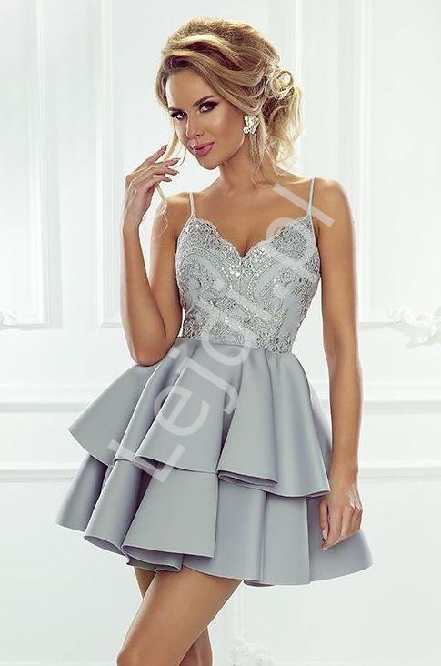 Sukienka na wesele na ramiączkach z piankową spódnicą, szara