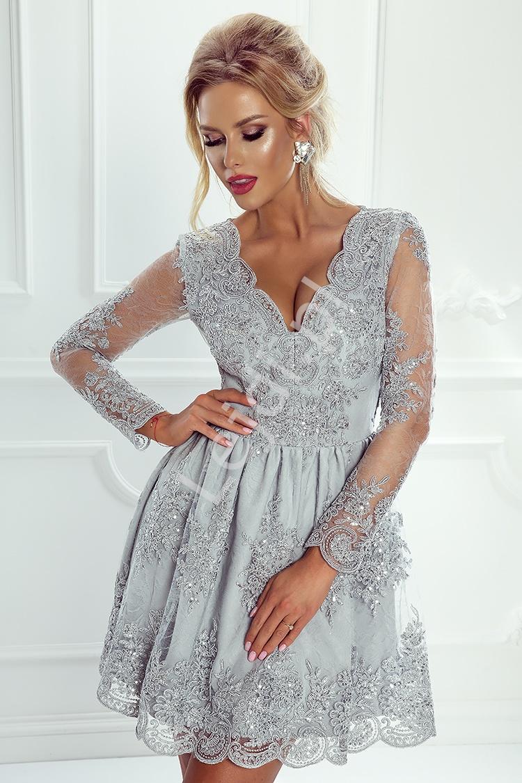 Sukienka na wesele, srebrna koronkowa rozkloszowana - Amelia - Lejdi