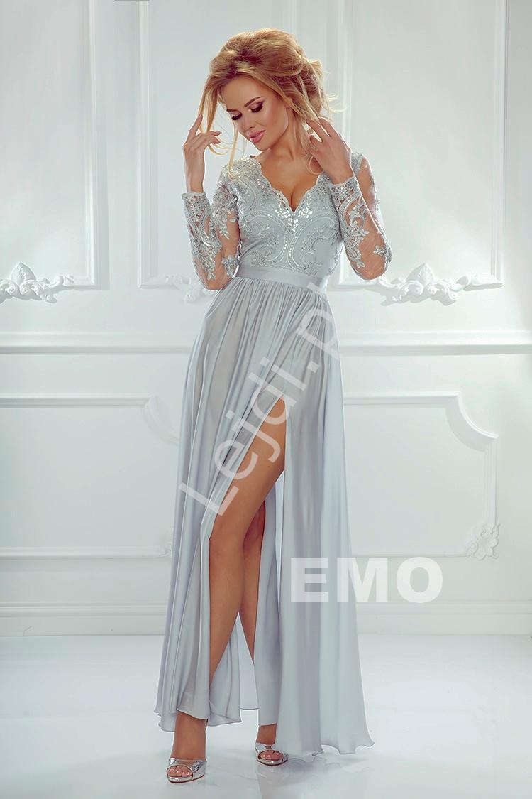Sukienka na wesele, studniówkę | srebrna wieczorowa Luna - Lejdi