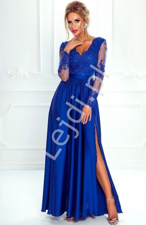 Sukienka na wesele, suknia wieczorowa z rozcięciem - Luna, chabrowa - Lejdi