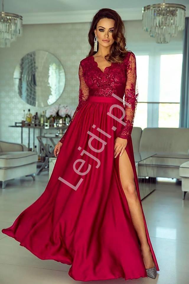 Sukienka na wesele z długim koronkowym rękawem | wieczorowa Luna ciemne wino - Lejdi