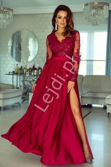 8380a9655c Sukienka na wesele z długim koronkowym rękawem