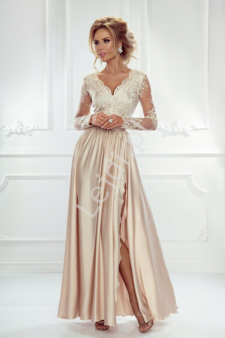 Sukienka na wesele z długim rękawem -jasno złota wieczorowa Luna - Lejdi