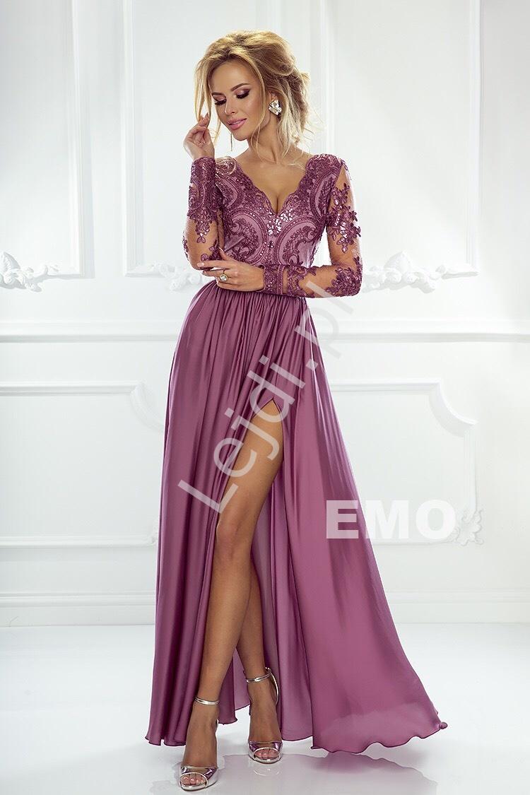 Sukienka dla druhny z długim rękawem   suknia wieczorowa śliwkowa Luna - Lejdi