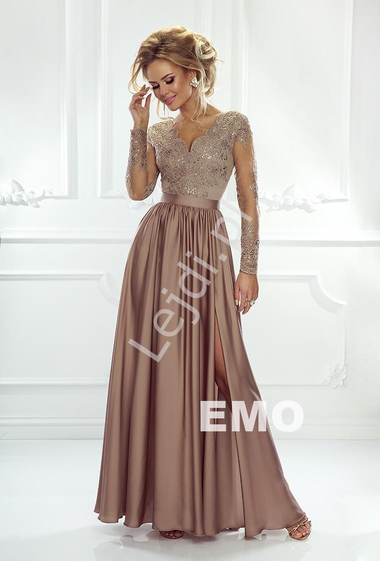 Sukienka na wesele z długim tiulowym rękawem obszytym gipiurową koronką | Karmelowa wieczorowa Luna - Lejdi