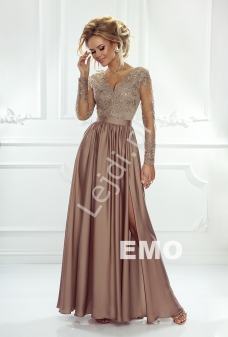 f41569942f88cf Sukienka na wesele z długim tiulowym rękawem obszytym gipiurową koronką |  Karmelowa wieczorowa Luna